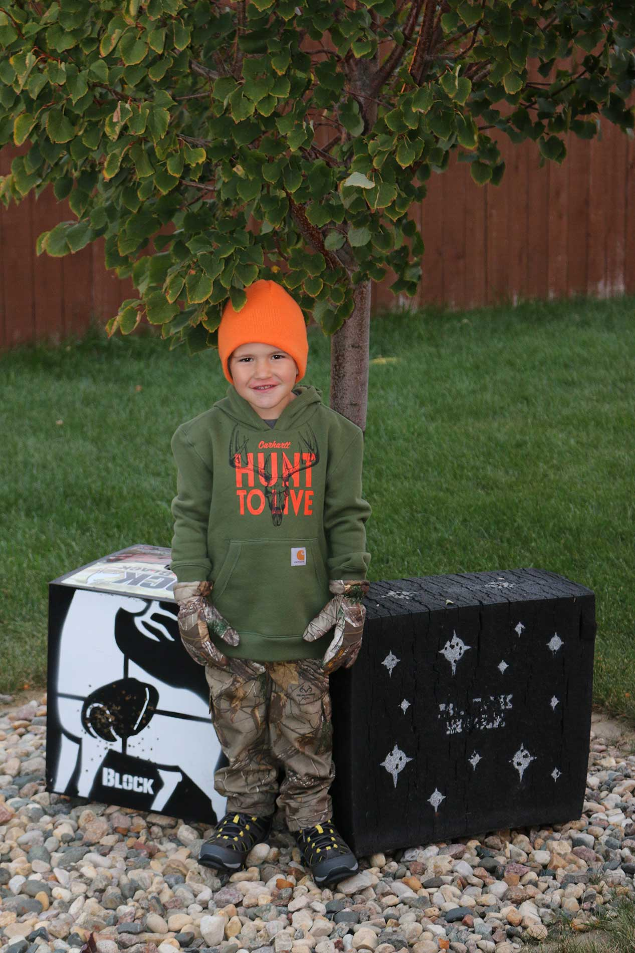Reese in his new hunting gear