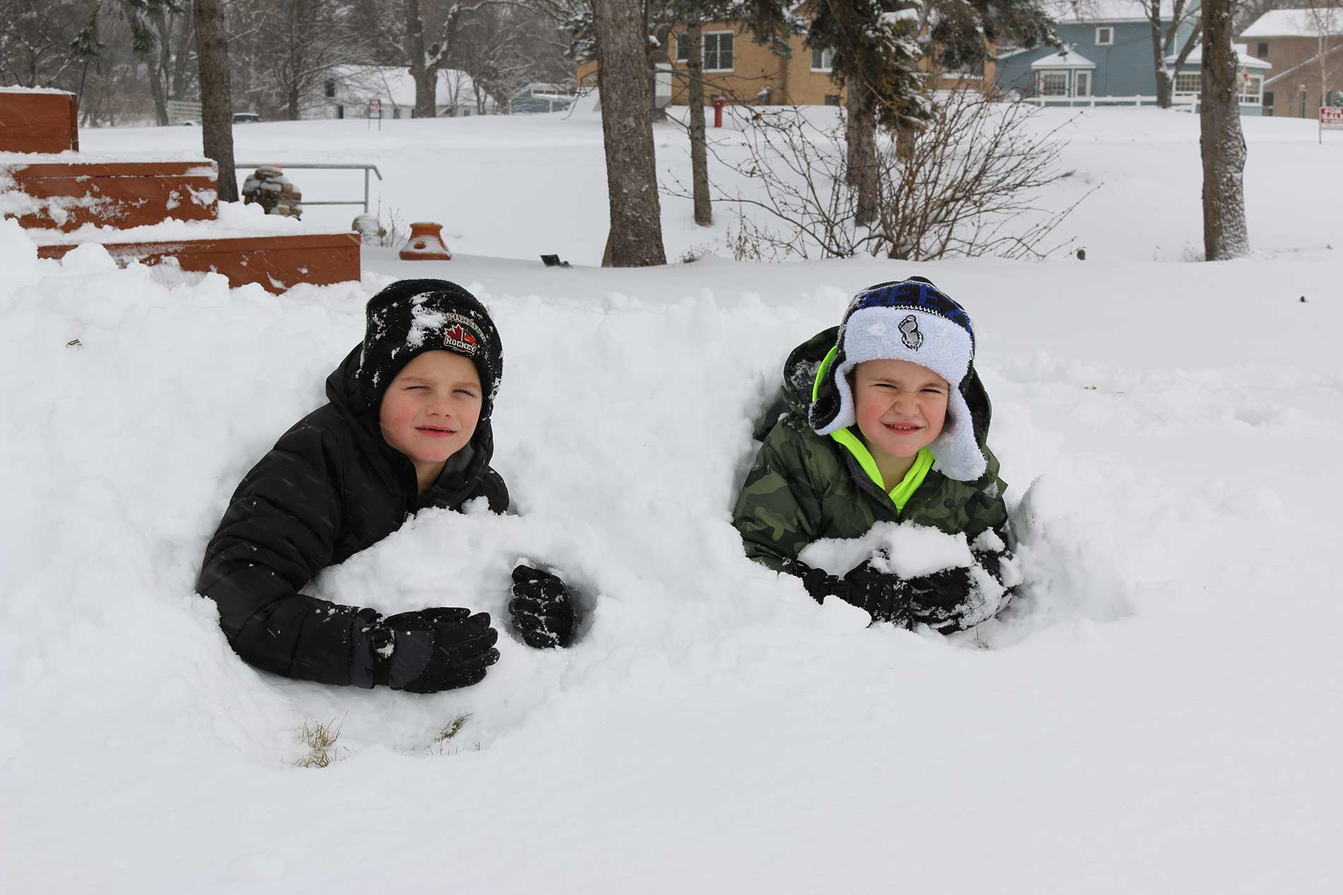 Cole and Reese getting buried in the snow