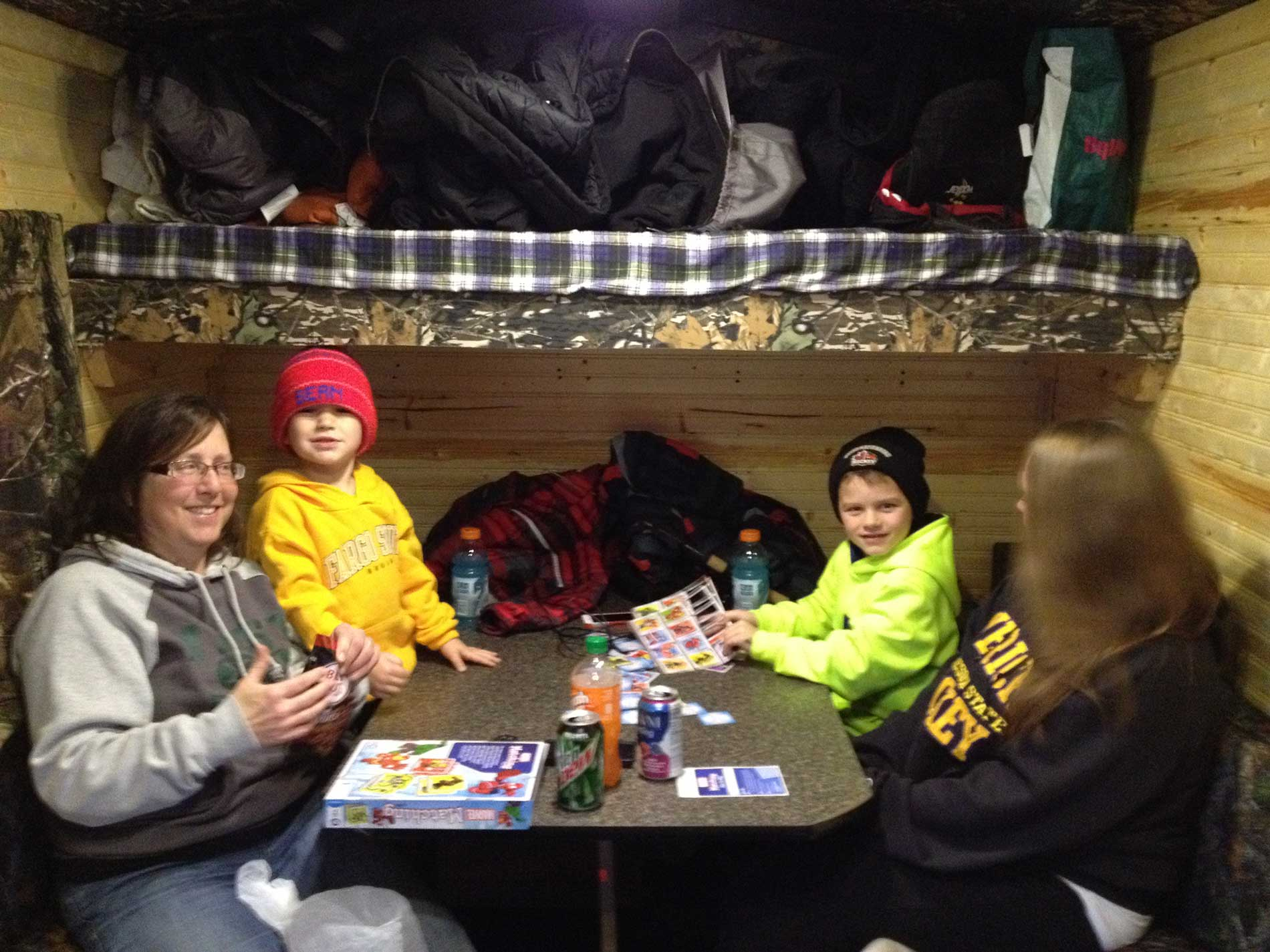 First time ice fishing with Reese (left) and Cole (right)