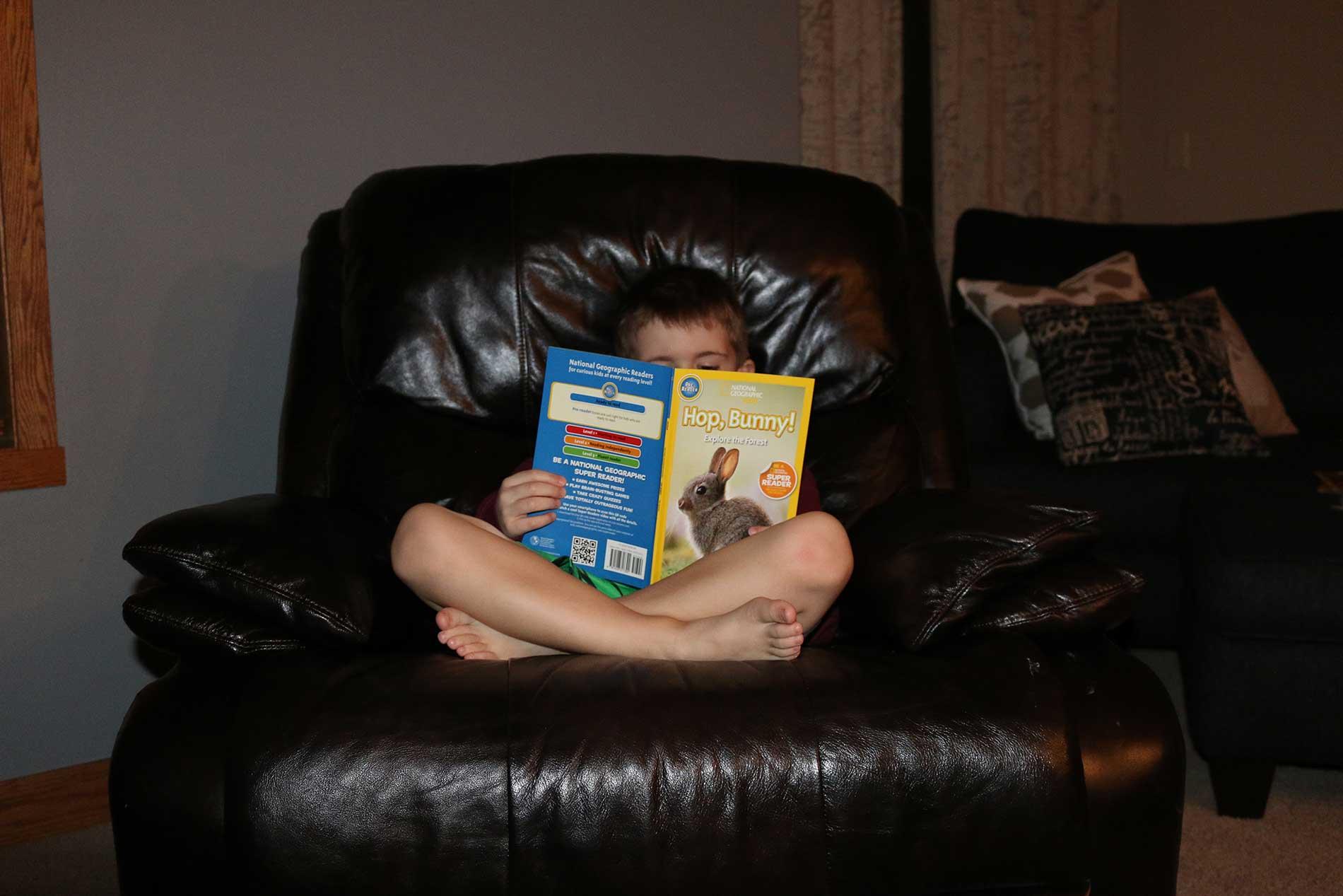 Reese doing some light reading.