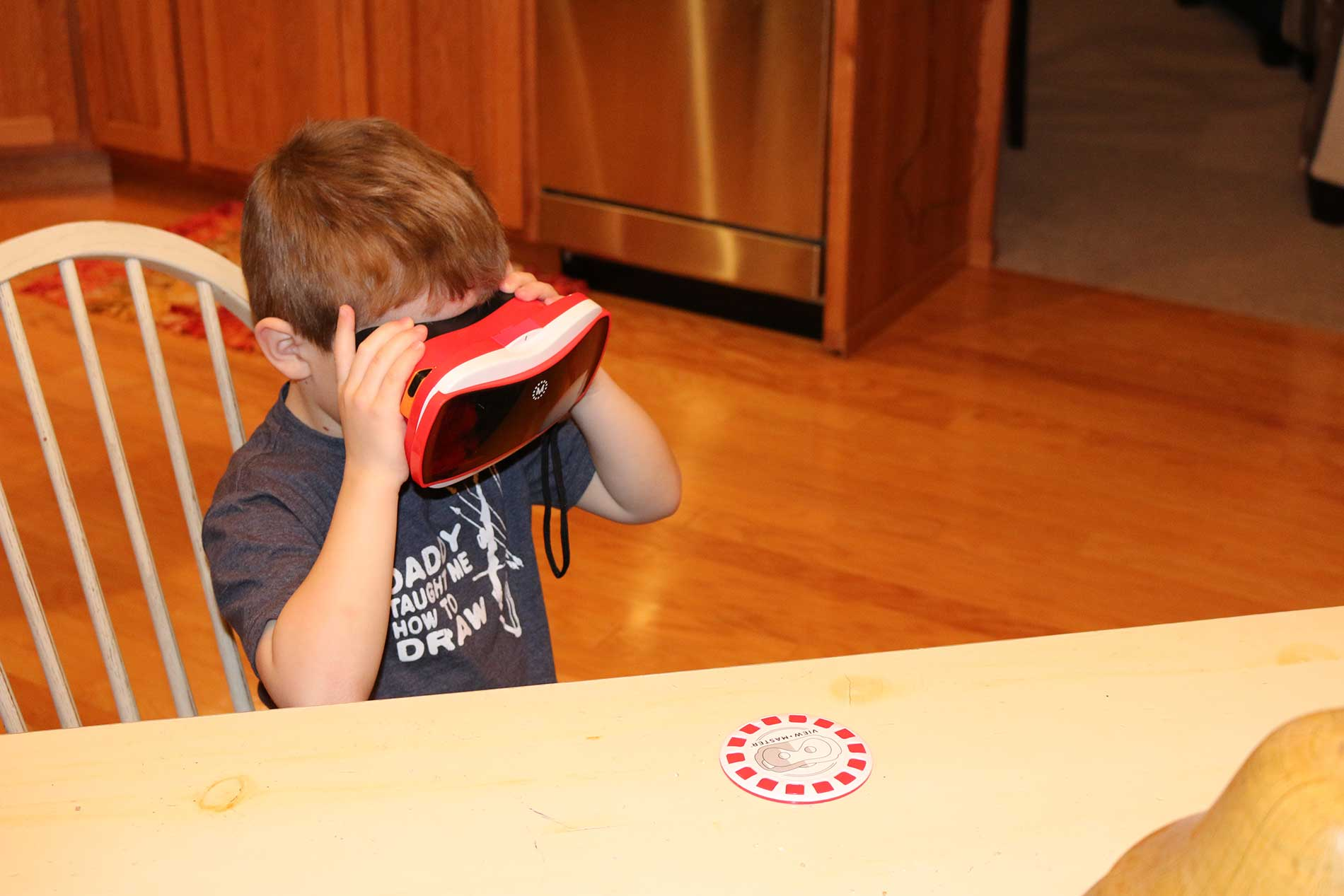 Reese using the View Master