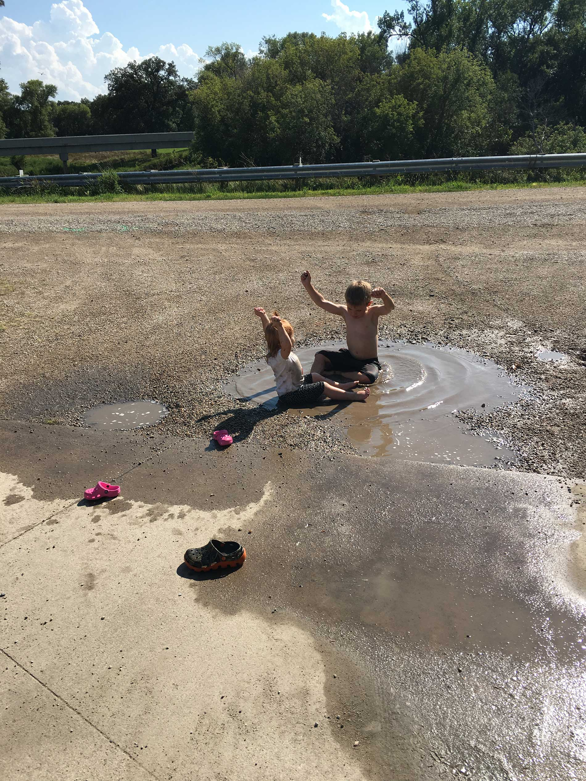 Brinley and Reese have conquered the puddle